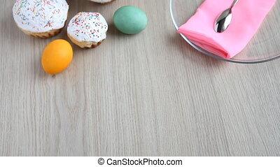 świąteczny, barwiony, jaja, wzdłuż, półmisek, stół, ...