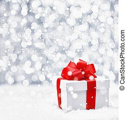 świąteczny, gwiazdkowy dar, w, śnieg