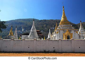 świątynia, 1., myanmar, miasto, pindaya