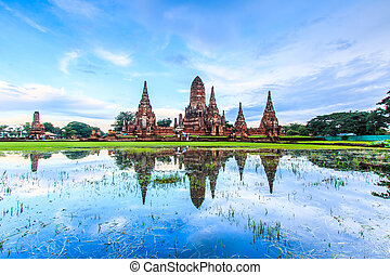 świątynia, prowincja, ayuthaya, tajlandia, wat, ...