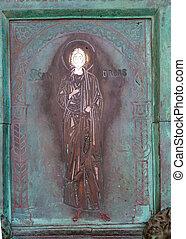 święte drzwi, cathol, amalfi, rzymski, taly., katedra, 9th-century, stary