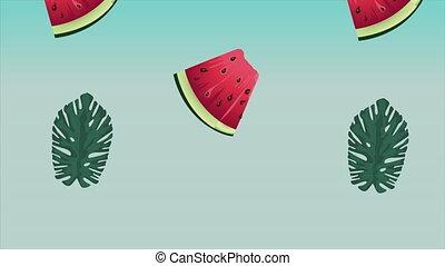 święto, arbuz, lato, tropikalny, powitanie, afisz, liście, tło