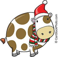 święto, boże narodzenie, wektor, krowa