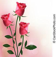 święto, czerwone tło, róże