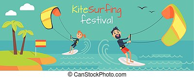 święto, kiteboarding, styl, kitesurfing, banner.