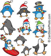 święto, komplet, boże narodzenie, pingwin