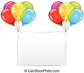 święto, urodziny, chorągiew, balony, czysty