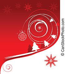 święto, zima, karta, boże narodzenie