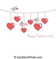 świętując, dzień, sprytny, ptaszki, valentine