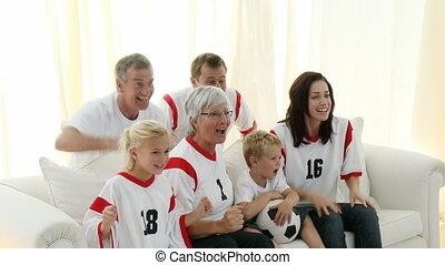 świętując, gol, rodzina dom
