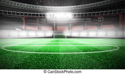 świętując, ożywienie, gol, stadion