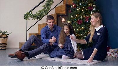 świętując, sparklers, boże narodzenie, rodzina, szczęśliwy