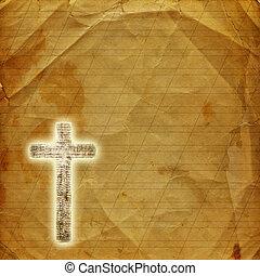 święty, abstrakcyjny, krzyż, jarzący się, papier, tło