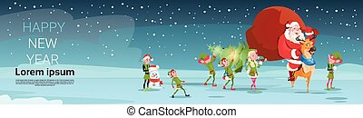 święty, cielna, claus, drzewo, powitanie, sosna, niniejszy, worek, wesoły, rok, nosić, nowy, elfs, kartka na boże narodzenie, szczęśliwy