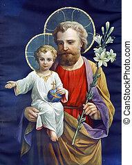 święty, józef, z dzieckiem, jezus