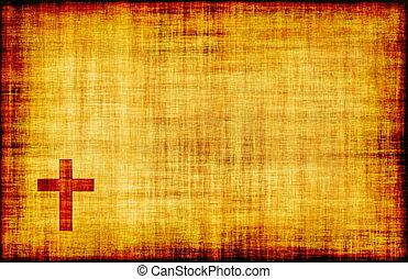 święty, krzyż, na, pergamin, woluta, papier