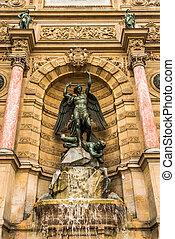 święty, michaels, fontanna, paryż, miasto, francja