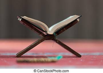 święty, quran, -, meczet, książka, muslims