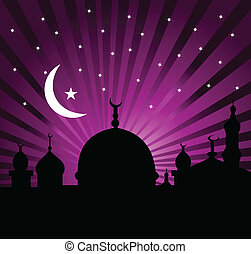 święty, ramadan, powitanie, miesiąc, karta, kareem