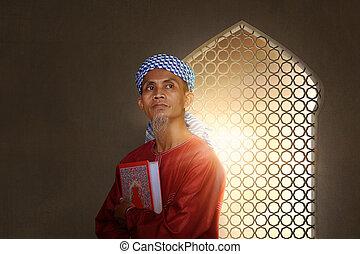 święty, transport, muslim, książka, asian, senior, muslims, człowiek