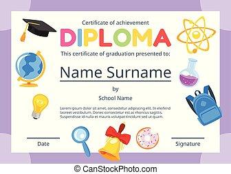 świadectwo, dzieciaki, dyplom, preschool
