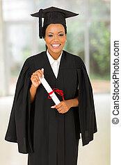 świadectwo, młody, absolwent, czarnoskóry, dzierżawa, kolegium
