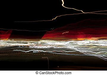 światła, abstrakcyjny, noc