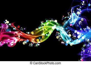 światła, barwny, dym