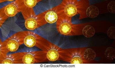 światła, jarzący się, poprowadzony, barwny, żółty