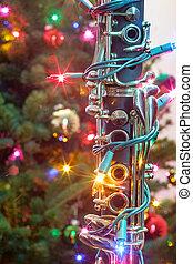 światła, klarnet, boże narodzenie, zawiązywać