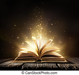 światła, magia, stary, książka