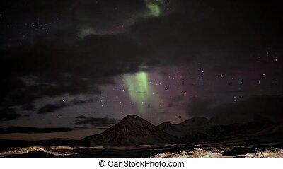 światła, na, północny, góry