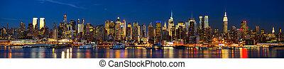 światła, noc, york, nowy