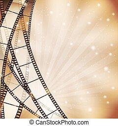 światła, pasy, gwiazdy, tło, filmstrip