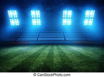 światła, piłka nożna, stadion