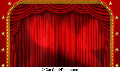 światła, &, rusztowanie, teatr, kurtyna