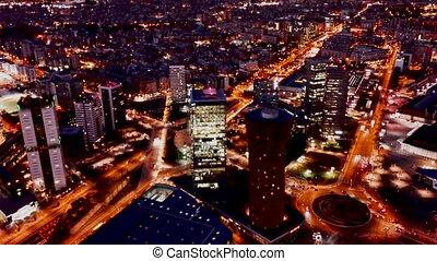 światła, sceniczny, europa, barcelona, prospekt, noc, plac, ...
