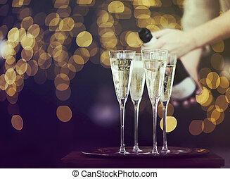 światła, szampan, tło, okulary