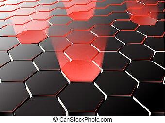 światła, sześciokątny, perspektywa, tło, czerwony