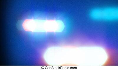 światła, wóz, policja, błyszczący