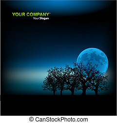 światło księżyca, wektor, tło, ilustracja, szablon