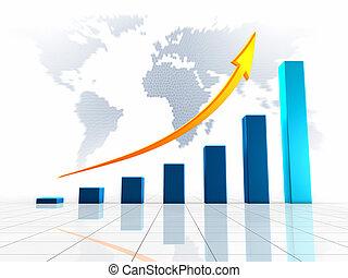 świat, 3d, handlowy, wykres