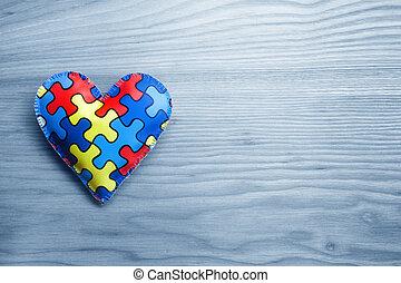 świat, autism, świadomość, dzień, umysłowe zdrowie, troska, pojęcie, z, zagadka, albo, wyrzynarka, próbka, na, serce
