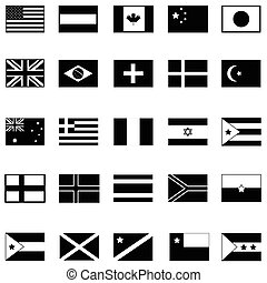 świat, bandera, ikona, komplet