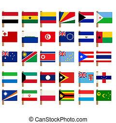 świat, bandera, ikony, komplet, 4
