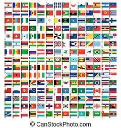 świat, bandera, ikony, komplet