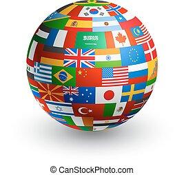 świat, bandera, wektor, kula, 3d