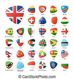 świat, bandery, komplet