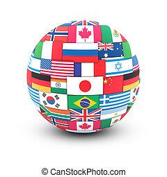 świat, bandery, na, kula