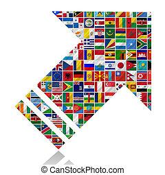 świat, bandery, z, strzała